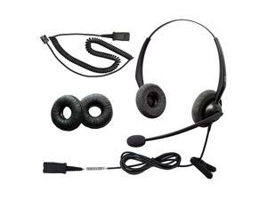 RJ9 NC Duo Office Phone Corded Headset for Analog Office Landline Phone Aastra Avaya Nortel Polycom Mitel ShoreTel Digium AltiGen NEC TalkSwitch Telephones