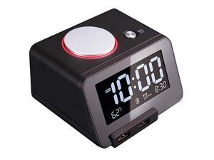 Upgraded Version  C1 Pro Alarm Clock for Bedrooms with Bluetooth Speaker 2Port Universal USB Charger Large Dimmable LCD Screen Thermometer Snooze Warranty Black