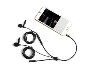 Lavalier Lapel Microphone  2 Pack Professional Omnidirectional Condenser Interview Clip on Mic with Headphone Jack Compatible with iPhone Android iPad Camera Computer PC Tablets AU303