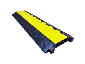 Low Profile 3 Channel Cable Protector Rubber Ramp Black BaseYellow Lid