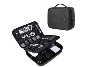 Electronic Organizer Double Layer Travel Cable Organizer Cases Electronics Accessories Storage Bag for 105 inch iPad Pro iPad air Cables Kindle Black