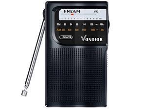 AM FM Radio Portable Best Reception Transistor RadioLongest Lasting Battery Operated Radio 2AA FM AM Pocket Radio Mono Headphone Socket by  Black