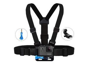 Chest Mount Harness Compatible with GoPro Hero 9 8 7 6 5 4 3 3+ 2 Fusion Session Black Silver AKASO EK7000 Sjcam Sports Cameras Adjustable Body Strap Jhook Aluminum Thumbscrew Accessory