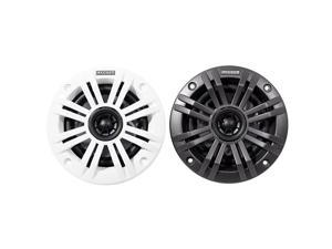 KM4 4Inch 100mm Marine Coaxial Speakers with 12Inch 13mm Tweeters 2Ohm Charcoal and White Grilles
