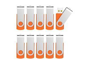 10 Pack 4 GB USB Flash Drive 4gb Flash Drives Keychain Thumb Drive Swivel Memory Stick Orange