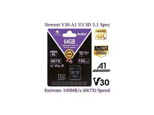 64GB Micro SD Card Plus Adapter Pack  64 GB MicroSD SDXC Class 10 Pro U3 A1 V30 Extreme Speed 100MBs UHSI UHS1 TF XC MicroSDXC Memory Card for Cell Phone Nintendo Galaxy Fire Gopro