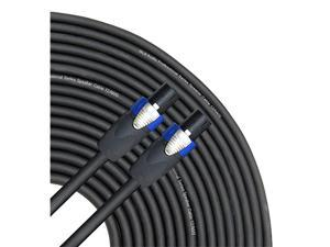 50 feet Speaker Cable 12AWG Patch Cords 50 ft Speakon to Speakon Professional Cables Black Neutrik NL4FX NL4FC 12 Gauge Wire Pro 50 Speakon Cord 12G Single