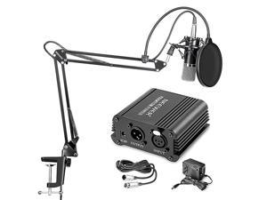 NW700 Professional Condenser Microphone NW35 Suspension Boom Scissor Arm Stand with XLR Cable and Mounting Clamp NW3 Pop Filter 48V Phantom Power Supply with Adapter Kit