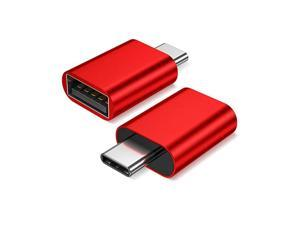 USB Type C Male to USB A 30 Female Adapter 2Pack SidebySide Use Thunderbolt 3 Adapter Compatible with MacBook Pro 2018 2017 Air Dell XPS 13 7390 Galaxy S20 S20+ S10 Plus UltraRed