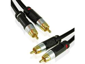 Stereo Cable with Left and Right Audio 12 Feet RCA to RCA GoldPlated Connectors Part MPCALR12B