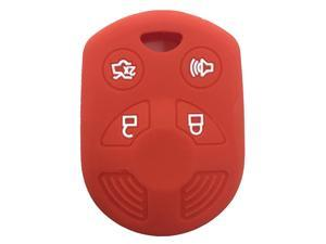 Red 4 Buttons Silicone Rubber Key Fob Case Key Cover Key Jacket Skin Protector fit for Expedition