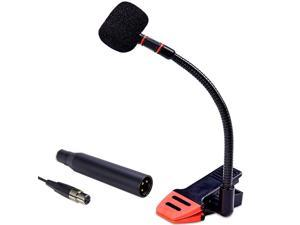 Clip-On Gooseneck Instrument Microphone – Condenser Mic for Sax, Clarinet, Trumpet and Percussion – Rubberized Clip, Flexible Neck, (Requires Phantom Power not Included)