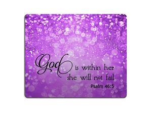 Psalm 465 God is Within HerShe Will not Fall Bible Verse Purple Sparkles Glitter Pattern Mouse pad Mousepads