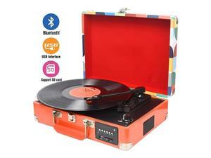 Record Player Turntable Suitcase with MultiFunction BluetoothFM RadioUSB and SD Card PortVinyl to MP3 Converter