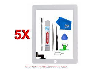 Pack of 5 Digitizer Repair Kit Compatible with iPad 2 White 97 Inch Touchscreen Front Display Incl Tool kit