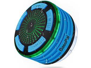 Shower Speaker Waterpoof IPX7, Portable Wireless Bluetooth Speakers with Radio, Suction Cup & LED Mood Lights, Super Bass HD Sound Perfect Pool, Beach, Bathroom, Boat, Outdoors (01.Blue)