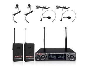 Metal Wireless Receiver  UHF Wireless Microphone System with 2 Bodypacks 2 Lapels and 2 Headsets Fixed Frequency 16 Hrs Long Battery Life Ideal for Church Outdoor Events PTU51C