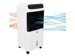Axel Evaporative Air Cooler 3-in-1 Portable Air Cooling, Fan, Ionizer, with 3 Speeds, 4 Wind Modes, 12 Hour Timer with Remote, 10L Water Tank, 4 Wheels and 2 Ice Boxes (White/Black)