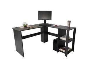 Aiden L-Shaped Corner Computer Desk Table, Large and Spacious for Dual Monitors with 2 Storage Shelves, Perfect for Home Office, Writing Workstation, Gaming