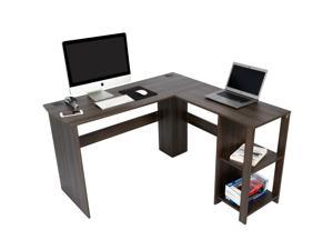 Aiden L-Shaped Desk with Bookshelves, Spacious for Dual Monitors, Perfect for Students, Home Office, Hobby Workstation