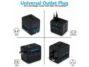 Universal Wall Plug AC Power Adapter for Travel  EU To US AU CA Africa with Dual USB Charger Outlet Converter