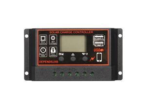 10A-60A 12V/24V Auto Solar Controller LCD Solar Charge Controller PWM Solar Panel Controller Battery Regulator With 2 USB Port