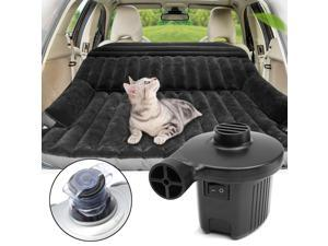 118cm130cmx45mm Black Flocked Car Inflatable Back Seat Cover Car Air Mattress Travel Folding Bed Air Bed For Camping