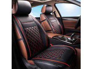 2Pcs Luxury Universal 3D Car Front Leather Seat Cushion Cover Mat Pad Black&Red