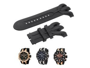 Black Watch Band Silicone Rubber Strap Replacement For Invicta Venom Chronograph Reserve