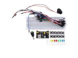 830 Point Solderless Breadboard 65pcs Jumper Cable MB-102 Power Supply Module Complete Kit