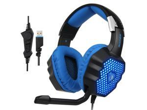 SADES A70 7.1 USB Wired Gaming Headphone Gamer Over-ear Headset with Mic Breathing Lamp  for PC Laptop