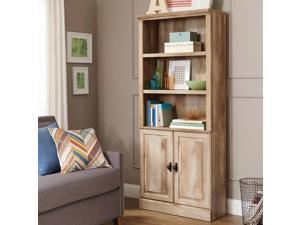"Better Homes  Gardens 71 Crossmill 3-Shelf Bookcase Bookshelf with Doors Weathered Finish  Heritage Walnut Finish"""