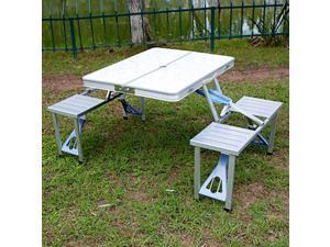 Outdoor Desk Folding Table Desk Chair All in One BBQ Laptop Desk Portable for Home Garden Silver