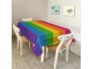 Modern Simple Rectangle Polyester Tablecloth Colorful Triangle Geometry-1/S