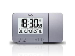 FanJu FJ3531 Projection Alarm Clock USB Charger Snooze Double Alarm Backlight Desk Clock - Silver