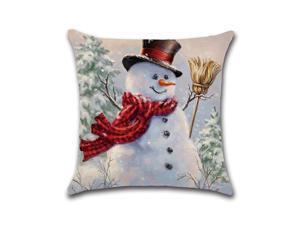 Christmas Snowman Printing Cotton Linen Cushion Cover Home Decorative Pillow Case - Pattern 4