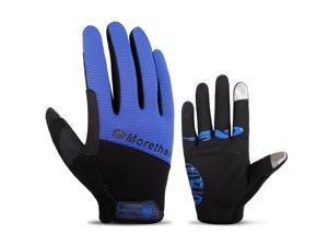 Touch Screen Full Finger Gloves Racing Motorcycle Cycling Bicycle BMX MTB Bike Riding Blue/L