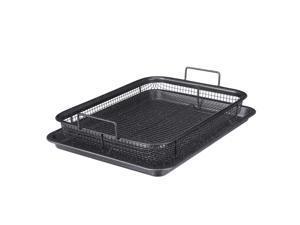 2Pcs Non Stick Mesh Pan Air Fryer Oven Mesh Baking Grill Tray Basket Tool
