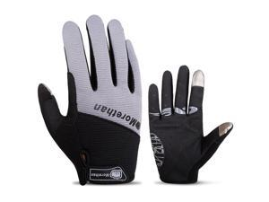 Touch Screen Full Finger Gloves Racing Motorcycle Cycling Bicycle BMX MTB Bike Riding L/Grey