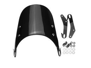 Black Windshield Windscreen For 5inch-7inch Round Headlights Motorcycle Universal