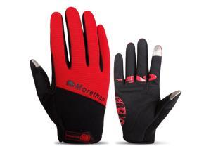 Touch Screen Full Finger Gloves Racing Motorcycle Cycling Bicycle BMX MTB Bike Riding red/ Red