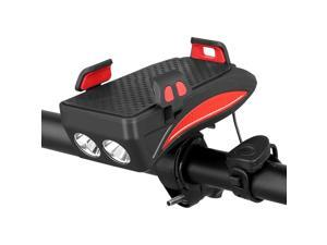 USB Rechargeable LED Bicycle Headlight Bike Horn Handlebar Phone Holder Cycle VC 4