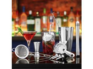 11Pcs Cocktail Shaker Set Mixer Martini Spirits Bar Spoon Jigger Strainer Stand Tools-600/450ml