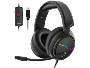 USB Pro Gaming Headset for PC- 7.1 Surround Sound Headphones with Noise Cancelling Mic- Memory Foam Ear Pads RGB Lights for Laptops