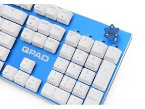 QPAD KC-60RD-BL waterproof mechanical gaming keyboard, Cherry MX Red switches, Blue color, build-in sound card support 1x3.5mm input earphone/headset
