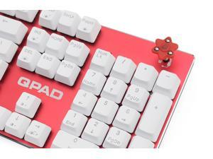 QPAD KC-60BL-RD waterproof mechanical gaming keyboard, Cherry MX Blue switches, Red color, build-in sound card support 1x3.5mm input earphone/headset