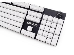 QPAD KC-60BL-BK waterproof mechanical gaming keyboard, Cherry MX Blue switches, Black color, build-in sound card support 1x3.5mm input earphone/headset