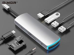 USB C Hub, USB Type C Hub, Up to 100W PD charging 8 in 1 USB C to HDMI Adapter with Ethernet,Type C Charging Port,SD TF Card Reader,3 USB Ports Adapter Compatible for MacBook and Other USB C Laptops J
