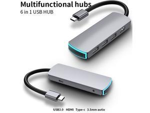 USB C Hub, 6 in 1 USB C to HDMI  Power Delivery PD Type C Charging Port, 3 USB 3.0 Ports Adapter Compatible for MacBook Pro, ChromeBook,and USB C Devices hub multifunctional card reader J