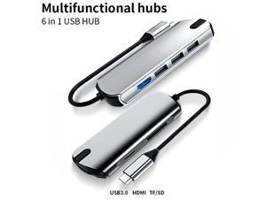 USB C Hub, 6 in 1 USB C to HDMI  Power Delivery PD Type C Charging Port, 3 USB 2.0 Ports Adapter Compatible for MacBook Pro, ChromeBook,and USB CDevices hub multifunctional card reader + TF / SD cardJ